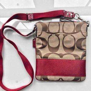 Coach Signature Stripe Swingpack in Khaki/Red